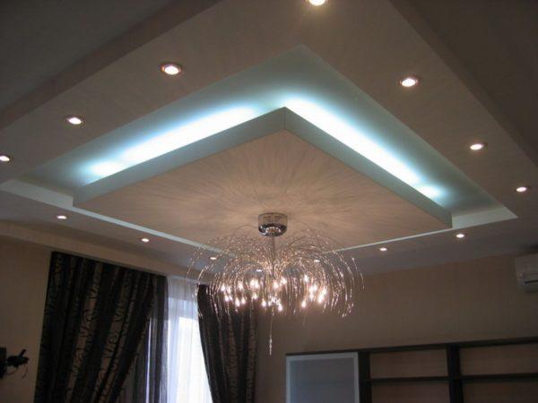 Парящий потолок, как на фото, можно собрать по технологии Кнауф – крупнейшего производителя комплектующих для гипсокартонных конструкций