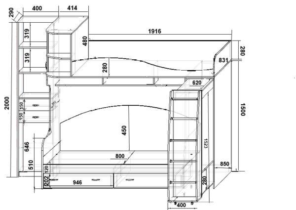 План угловой кровати с полками и ящиками для сборки из ДСП и размещения в углу комнаты