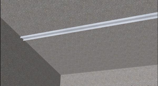 По разметке монтируем профиль на потолок