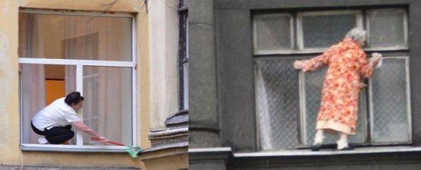 Подобное мытье окон снаружи на высоком этаже может закончиться плачевно