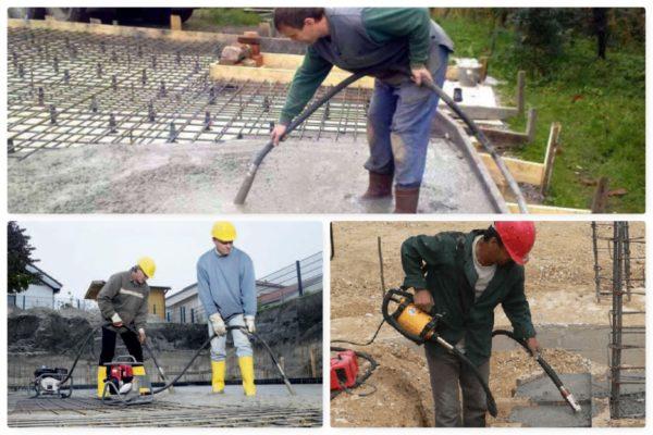 Погружные вибраторы одинаково хорошо уплотняют обычный бетон и раствор, армированный сварной сеткой