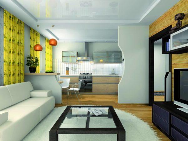 Полученное пространство в ходе совмещения кухни и гостиной удобно использовать