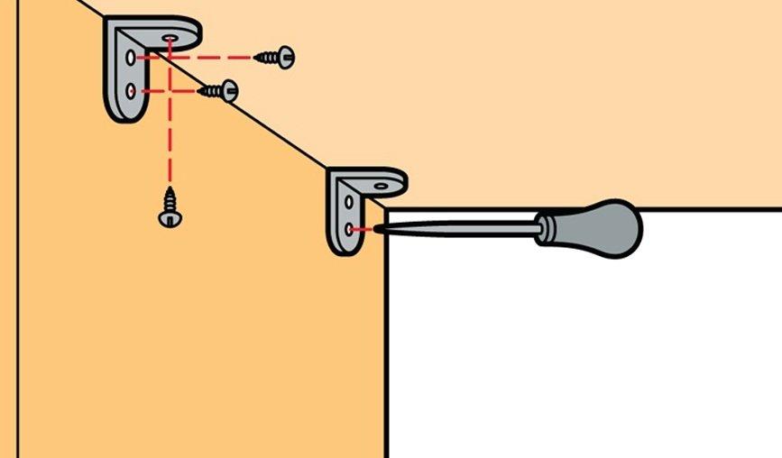 Пошаговая инструкция фиксации мебельного уголка на саморезы.