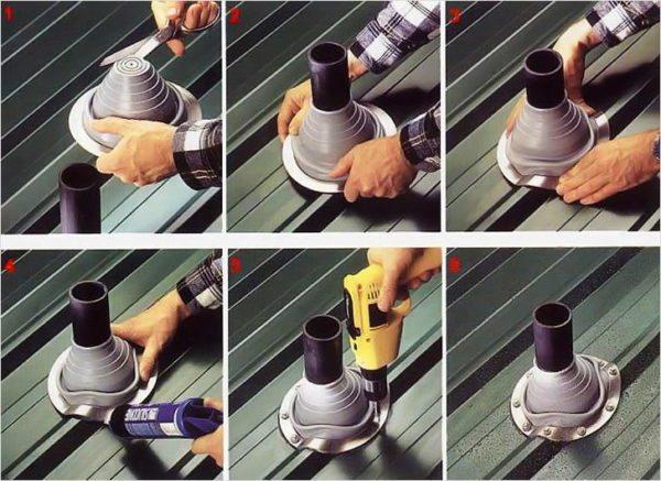 Пошаговая инструкция по монтажу гибкого узла примыкания для круглой трубы.
