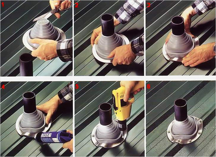 Заделать трубу в крыше своими руками