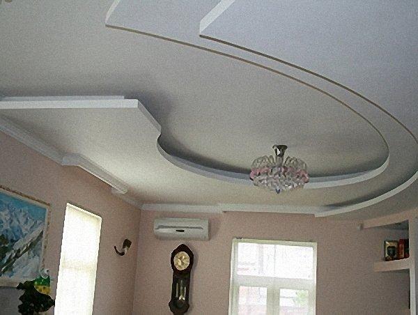 Потолок из гипсокартона можно сделать фигурным