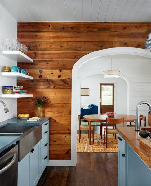 Потрясающий эффект деревянной скандинавской кухни