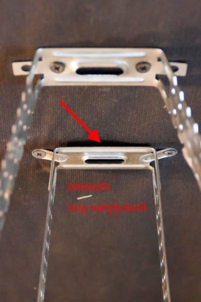 Правильное (на переднем плане) и неправильное (на заднем плане) крепление подвесов