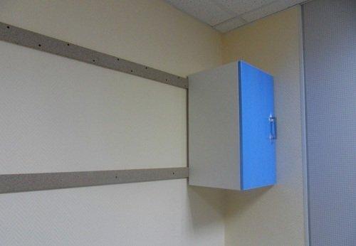 При навешивании шкафов, двумя деревянными брусками можно компенсировать незначительные искривления стен по плоскости.