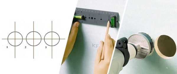 При сверлении нескольких отверстий рядом друг с другом при разметке нужно контролировать и уровень