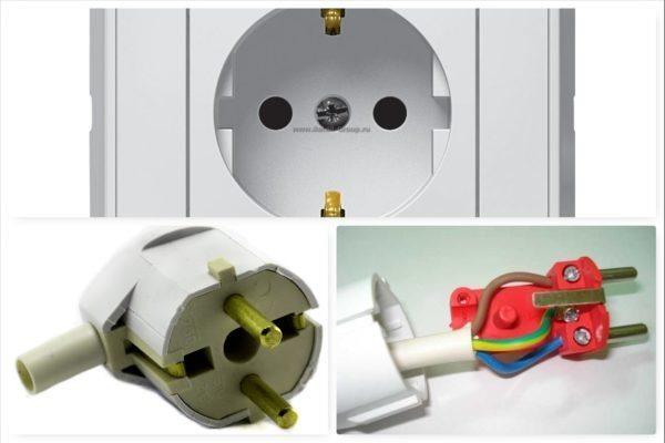 При устройстве современных бытовых проводок применяются розетки и вилки с клеммами заземления