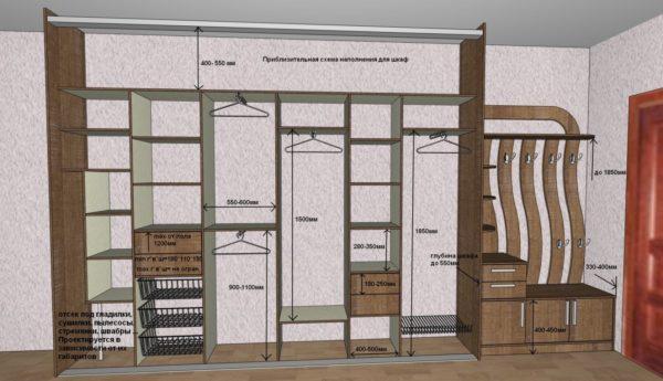 Пример наполнения шкафа в прихожей с размерами