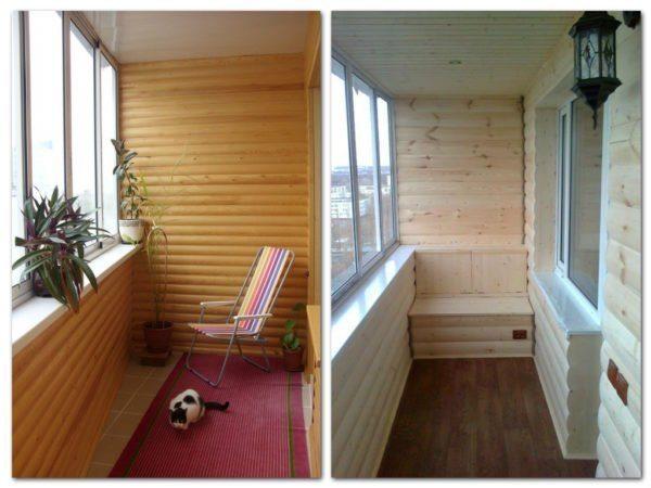 Пример того, как блок хаусом может быть обшит балкон или мансарда