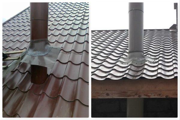 Пример того, как просто и надежно закрыть зазор между крышей и дымоходом