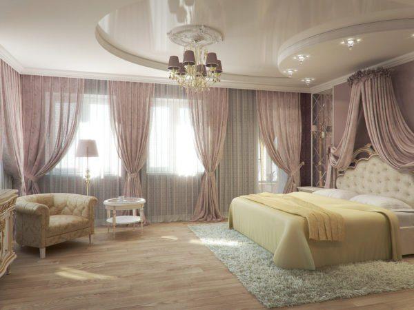 Пример того, как выглядит спальня с двухуровневым натяжным потолком