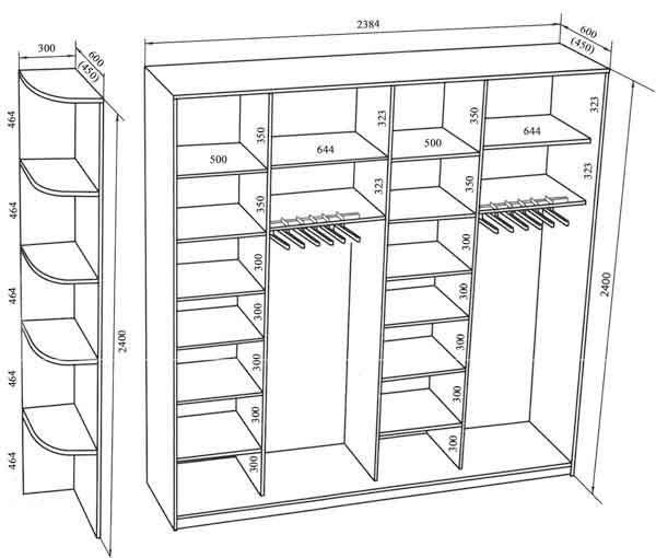 Примерное распределение полок в двух дверном шкафу глубиной 60 см