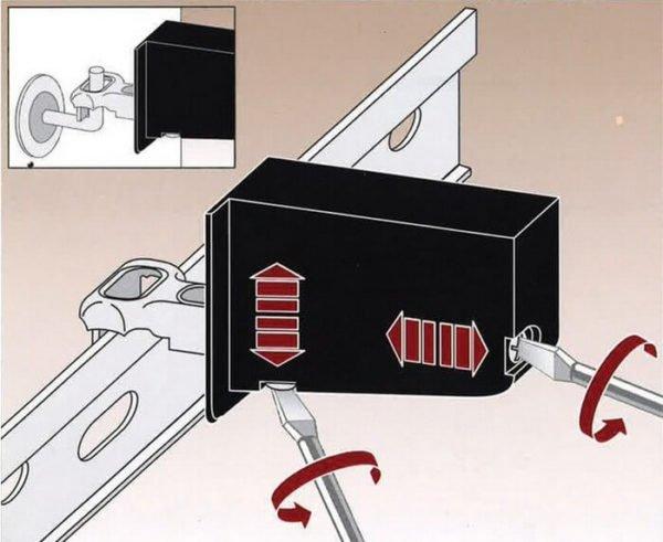 Принцип регулировки подвесного кронштейна.