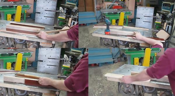 Продольная распиловка заготовки и изготовления паза выполняется на одном и том же инструменте