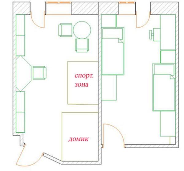 .Продуманная схема позволяет исключить любые проблемы, связанные с расстановкой мебели в детской