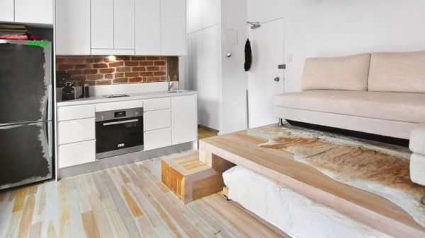 Проект из категории «3 в 1» - гостиная, спальня, кухня