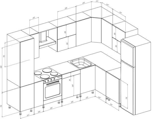 Проект углового кухонного гарнитура