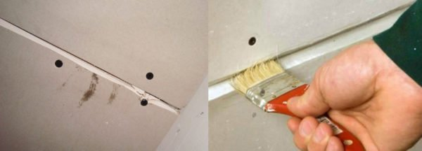 Работать лучше кисточкой, тщательно промазывая шов на всю его глубину.