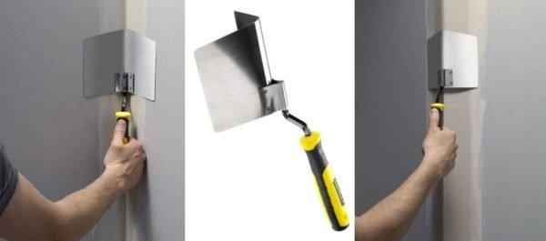 Работать с инструментом просто: состав наносится узким шпателем, а затем разравнивается угловым приспособлением