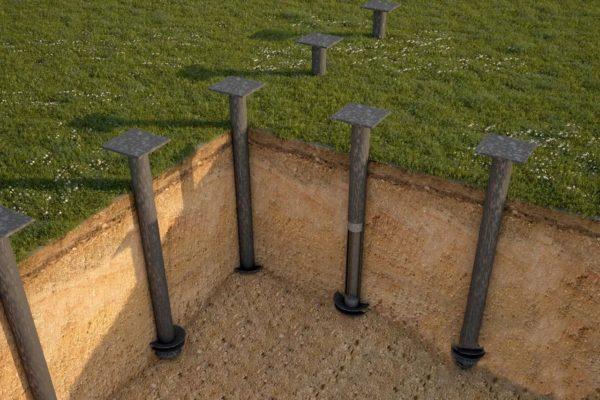 Расстояние между сваями определяется в соответствии с типом грунта и габаритами здания, впрочем, шаг между соседними опорами не превышает 1,5 м