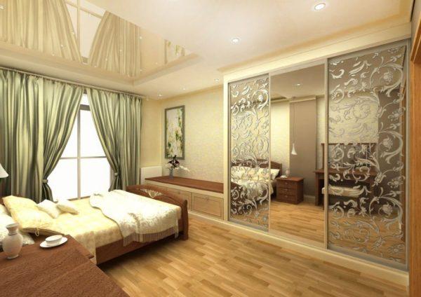 Растительный узор в спальне