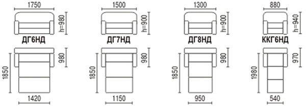 Размеры малых раскладных диванов и кресло-кроватей модели «Глория».