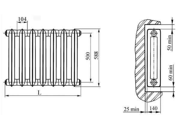 Размеры радиатора МС-140.