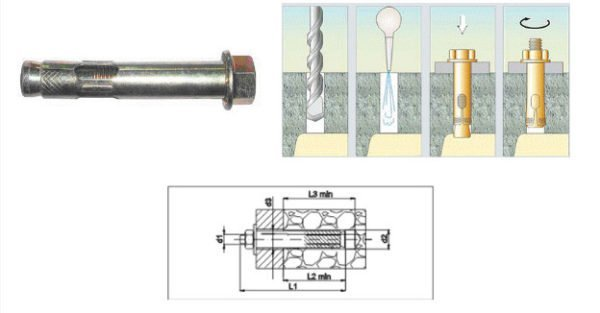 Разжимной металлический анкер и схема крепления в бетонный потолок.