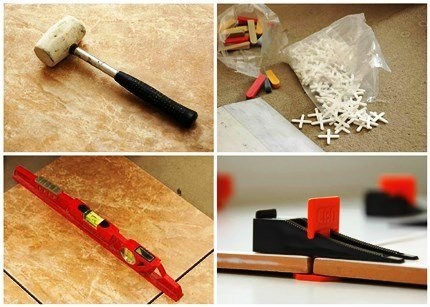 Резиновый молоток, уровень и пластиковые крестики с закладкой.