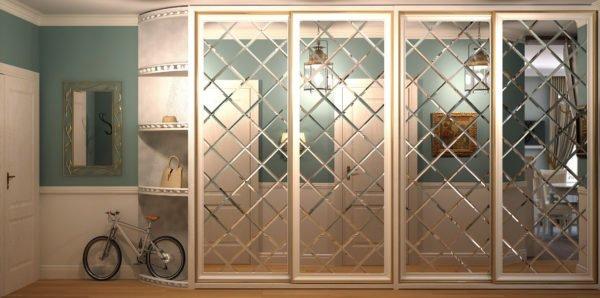 Рифлёные зеркальные двери