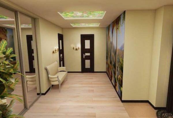 С однотонными обоями бежевого цвета хорошо сочетаются фотообои на одной из стен