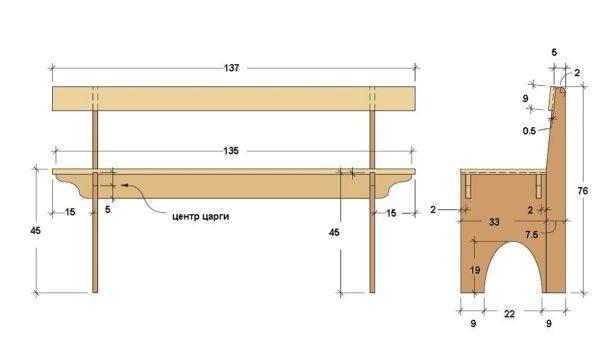 Схема — инструкция для каркаса скамейки