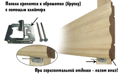 Схема монтажа панелей на кляймеры к деревянной обрешетке