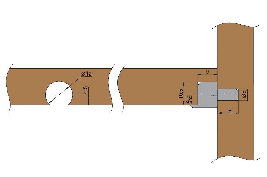 Схема монтажа скрытого врезного полкодержателя.