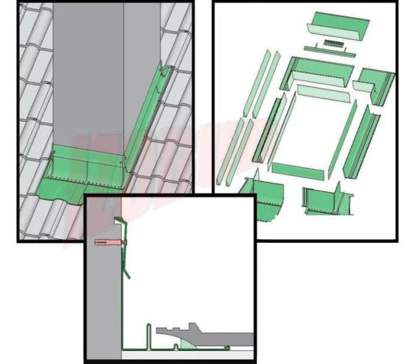 Схема обустройства верхнего фартука для печной трубы.