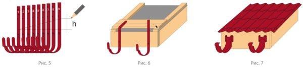 Схема разметки металлических крюков для водостока.