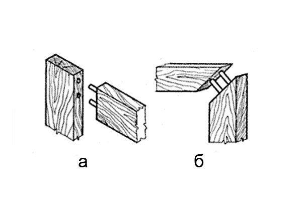 Шиповое соединение: а) прямое, б) угловое