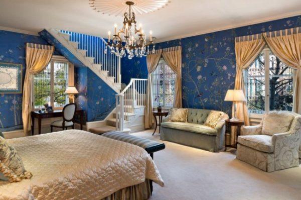 Синий цвет часто применяется для обустройства комнат в классическом стиле