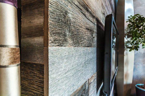 Состаренная древесина в интерьере.
