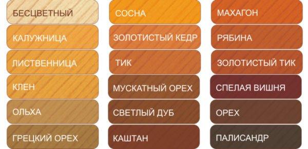 Составы на основе лака или воска имеют разные оттенки