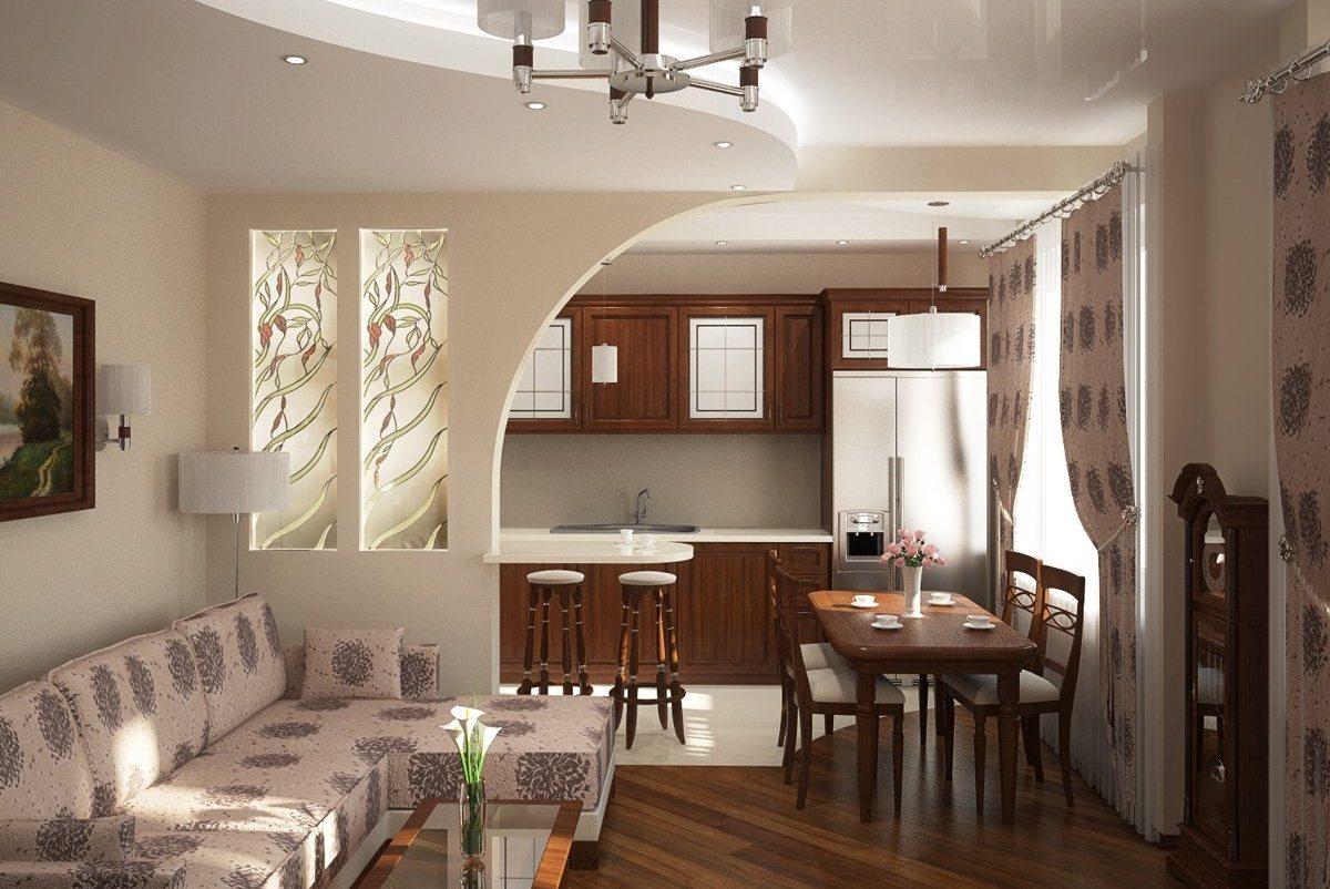 совмещённый фото кухней зал с