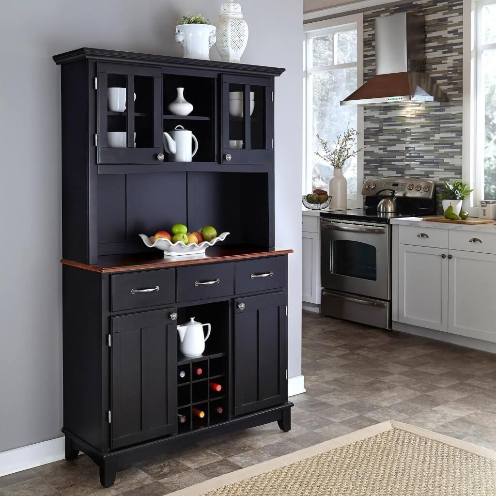 Современные модели посудных шкафов не всегда имеют сплошную закрытую тумбу снизу.