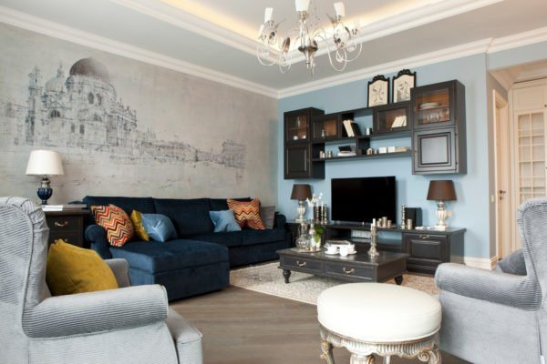 Современный интерьер гостиной с фотообоями