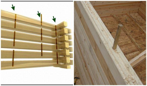 Способ установки деревянных шкантов.