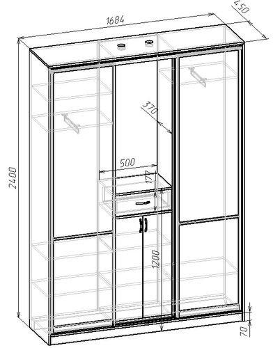 Стандартные параметры купейного шкафа.