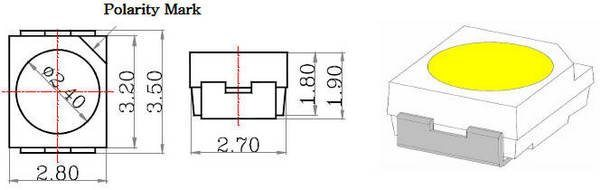 Стандартные размеры диодов SMD3528.